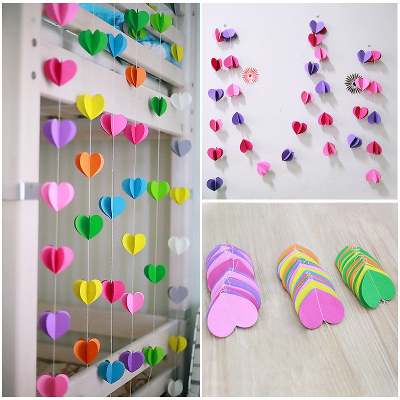 3D Garland Heart Shaped Wall Decoration 2m Long Paper Lovely String Chain Curtain Holiday Party Wedding Room Classroom Hanging In Banners