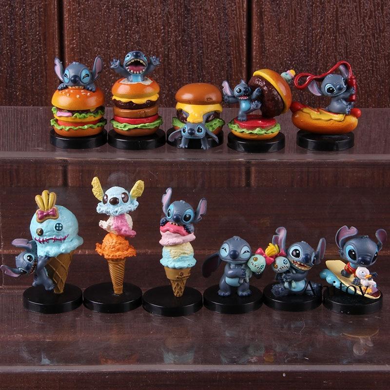 Lilo Stitch Scrump Toys Hamburger Ice Cream Ver. PVC Lilo&Stitch Action Figure Decoration Dolls Collectible Model Toy 11pcs/set