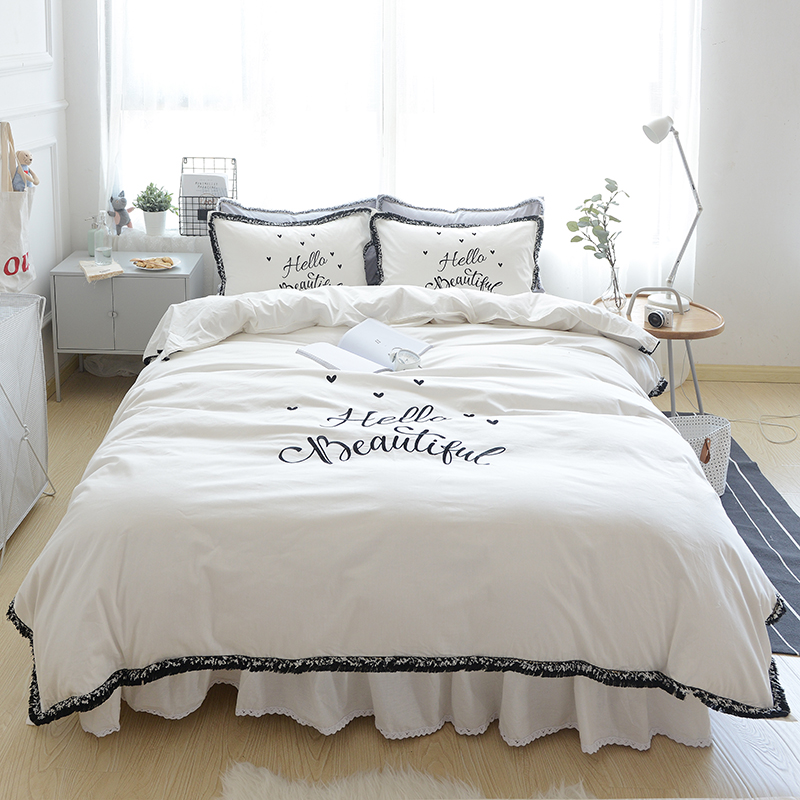 white princess bedding set king queen size 4pcs girls bed skirt set embroidered decorative duvet cover