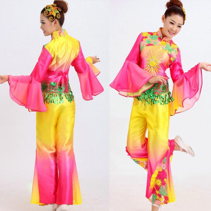 3e6382d08 Younger service drum yangko dance clothes fan dance costume women's  classical Ballroom performance wear chinese folk dance
