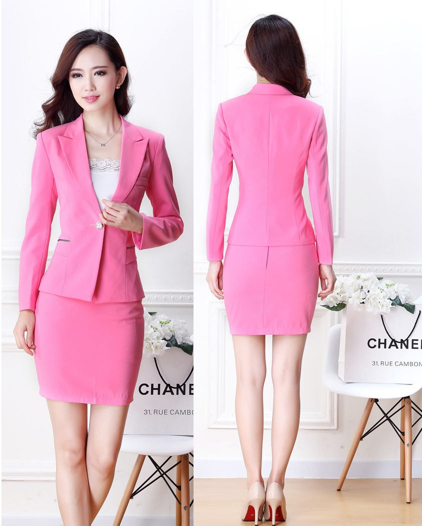 New Elegant Pink Fashion Slim Uniforms Style Professional Office Ladies Work Wear Suits For