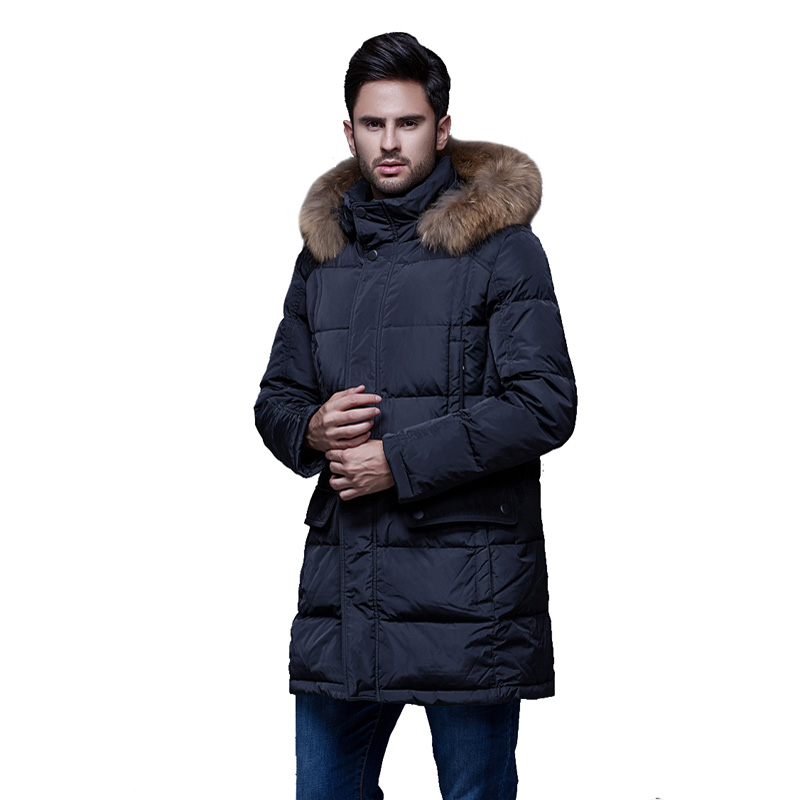 DHfinery mens winter   down   jacket long design 90% white duck   down     coat   Raccoon fur collar   down   jacket at minus 40 degrees G551