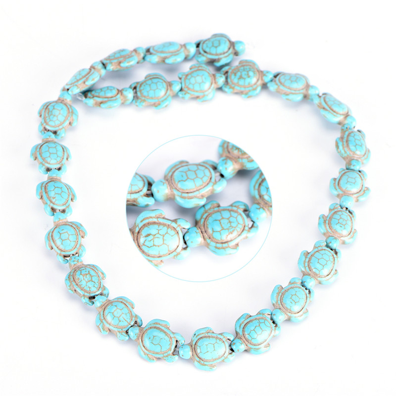 Strand Howlite Turquoise Carved Two-sided Sea Turtle With Charm Spacer Beads hot
