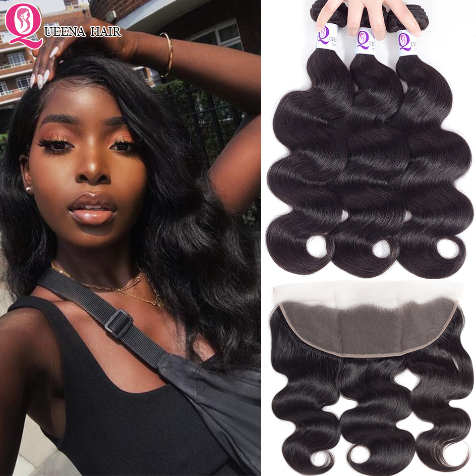 Cambodian Hair 3 Bundles With Frontal Closure Body Wave Remy Hair Bundles With Ear To Ear Closure Natural Human Hair Extensions