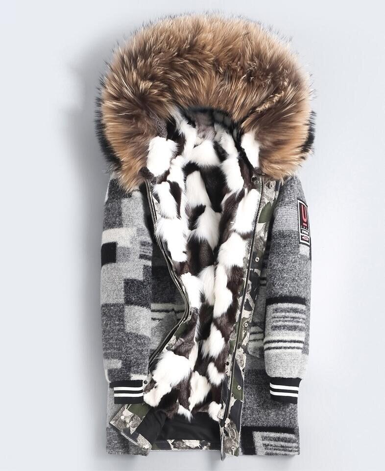 Nuovi Uomini di arrivo Big procione collo di pelliccia di Inverno Parka Reale pelliccia di Volpe fodera di Pelliccia di una Giacca Lunga di Lana Maschile -tessuto di miscela Cappotto di Pelle