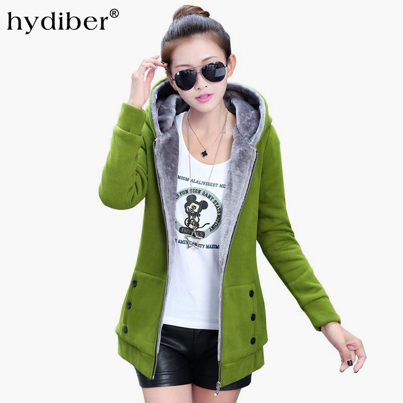 HYDIBER 2018 Herfst Winter Jassen Vrouwen Casual Hoodies Jas Kasjmier Jas Hooded Fleece Warme Lange Jassen Plus Size XXXL 46