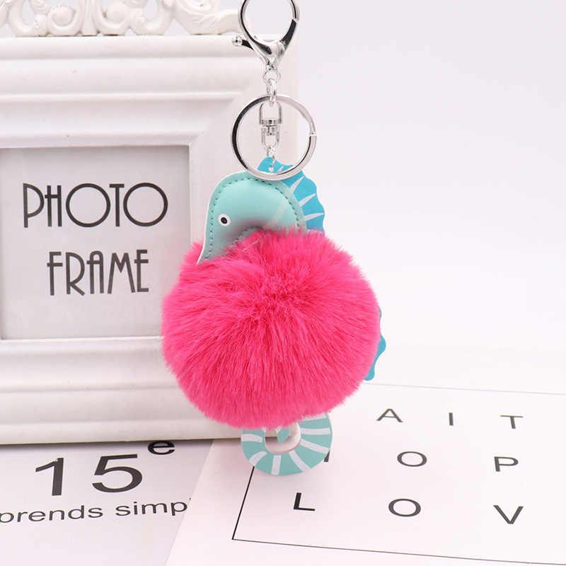 RE Moda Faux Bonito Fluffy Plush Bola Lindo Chaveiro de Couro Marinho A0430 Pompom Pompom Keychain Chave Do Carro Cadeia Bolsa Das Mulheres