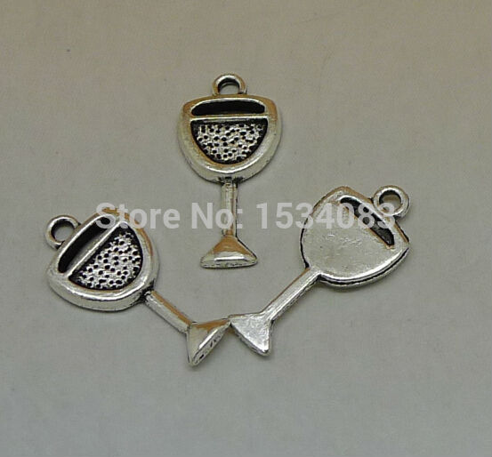 Free shipping Goblet <font><b>Wine</b></font> <font><b>Glass</b></font> cup <font><b>charm</b></font> pendant 15pcs 20*10mm <font><b>antique</b></font> <font><b>silver</b></font> fit bracelet necklace diy metal jewelry making