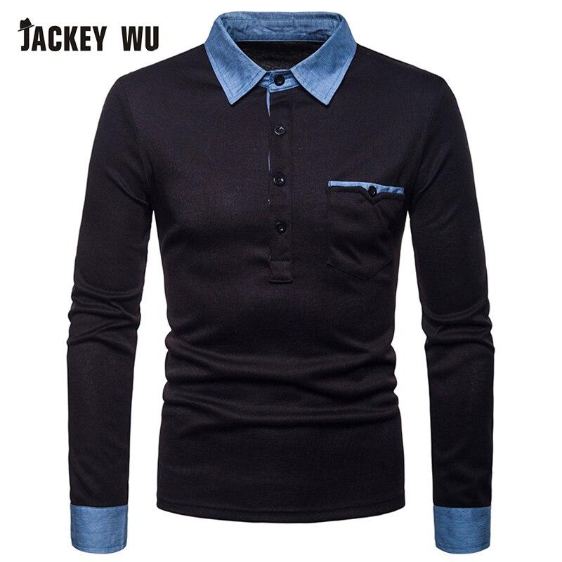 JACKEYWU   Polo   Shirt Men 2019 Fashion Denim Patch Long Sleeve Tees Cotton Breathable Slim Men's   Polos   Black Casual Camisa   Polo