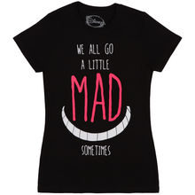 Alice In Wonderland Mad Smile Kitten Quote Licensed Women's Junior T-Shirt Cotton Tops Female Hot Brand Clothing T Shirt