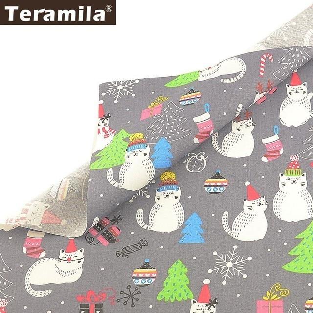 Teramila Home Textile Cat Animal Design Christmas Style 100% Cotton Fabric Tissu Tecido DIY Bed sheet Cloth Sewing Fat Quarters