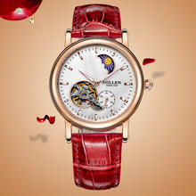SOLLEN women automatic mechanical watches hollow female waterproof leather strap round the stars really nail Moon Phase
