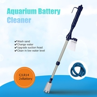 New Aquarium Battery Syphon Operated Fish Tank Sand Washer Vacuum Gravel Water Clean Siphon Filter Cleaner
