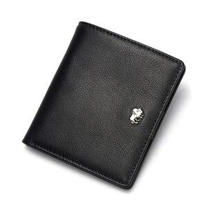 Image 5 - بيسون الدينيم قصيرة محافظ الرجال جلد طبيعي تتفاعل حجب محفظة الرجال عملة جيب حامل بطاقة مصمم محفظة صغيرة W9317