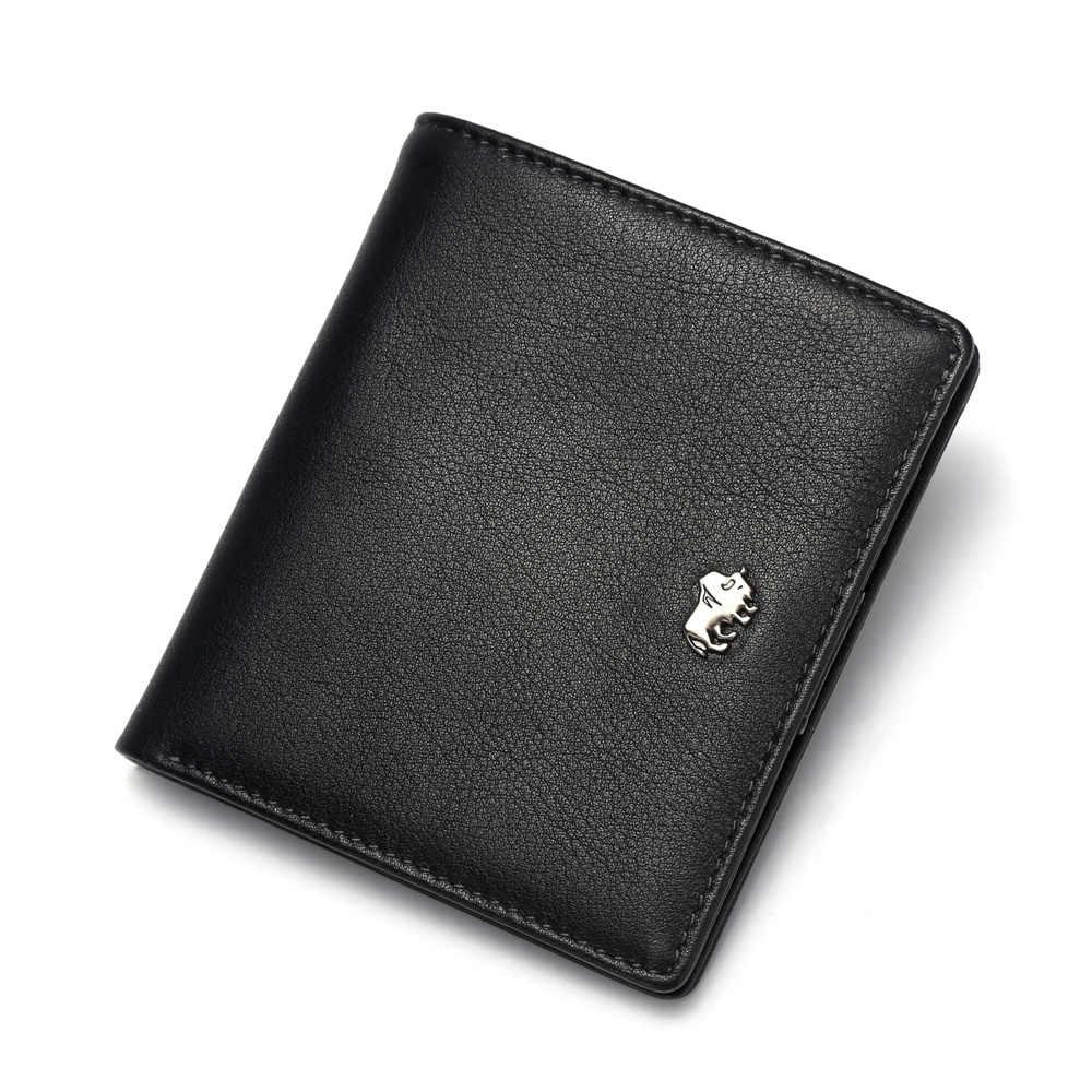 DENIM BISONTE Carteiras Curtos Para Homens Genuínos Homens Carteira de Couro Da Moeda Bolsa Titular do Cartão de Bolso Mini Pequeno presente do Negócio Carteira w9317