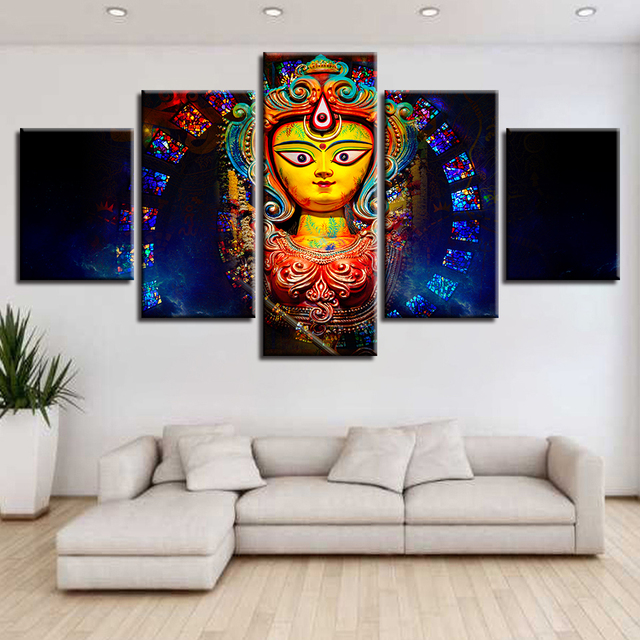 Wall Decorations For Living Room India Red And Black Furniture Canvas Art Pictures Decor 5 Pieces Mythology Goddess Durga Paintings Hd Printed Posters Frame