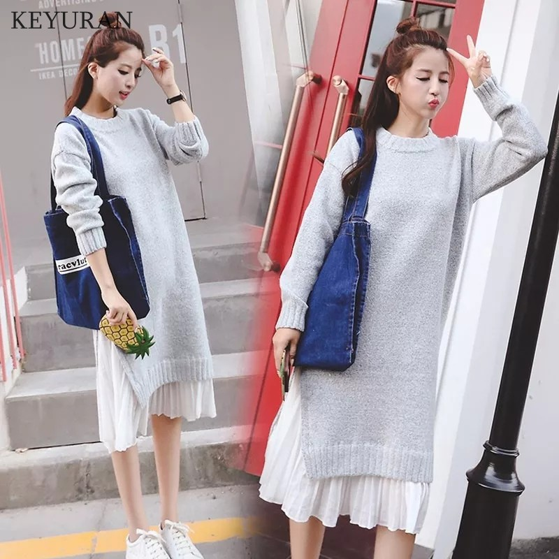 2018 Autumn Winter Korean Fashion Knitted Maternity Sweater Dress Loose Patchwork Clothes for Pregnant Women New Pregnancy Y313 стоимость