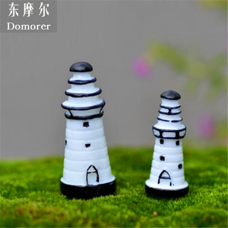 2018 new fashion creative resin 40mm lighthouse decorations for garden diy with high quality hot christmas gift free shipping in figurines miniatures from
