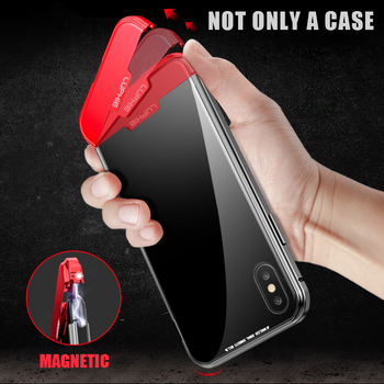 Luxury Lighter Decompression toy Metal Bumper cases for iphone XR iphone XS Max X case Magnetic snap tempered Glass cover coque iphone xr case magnetic