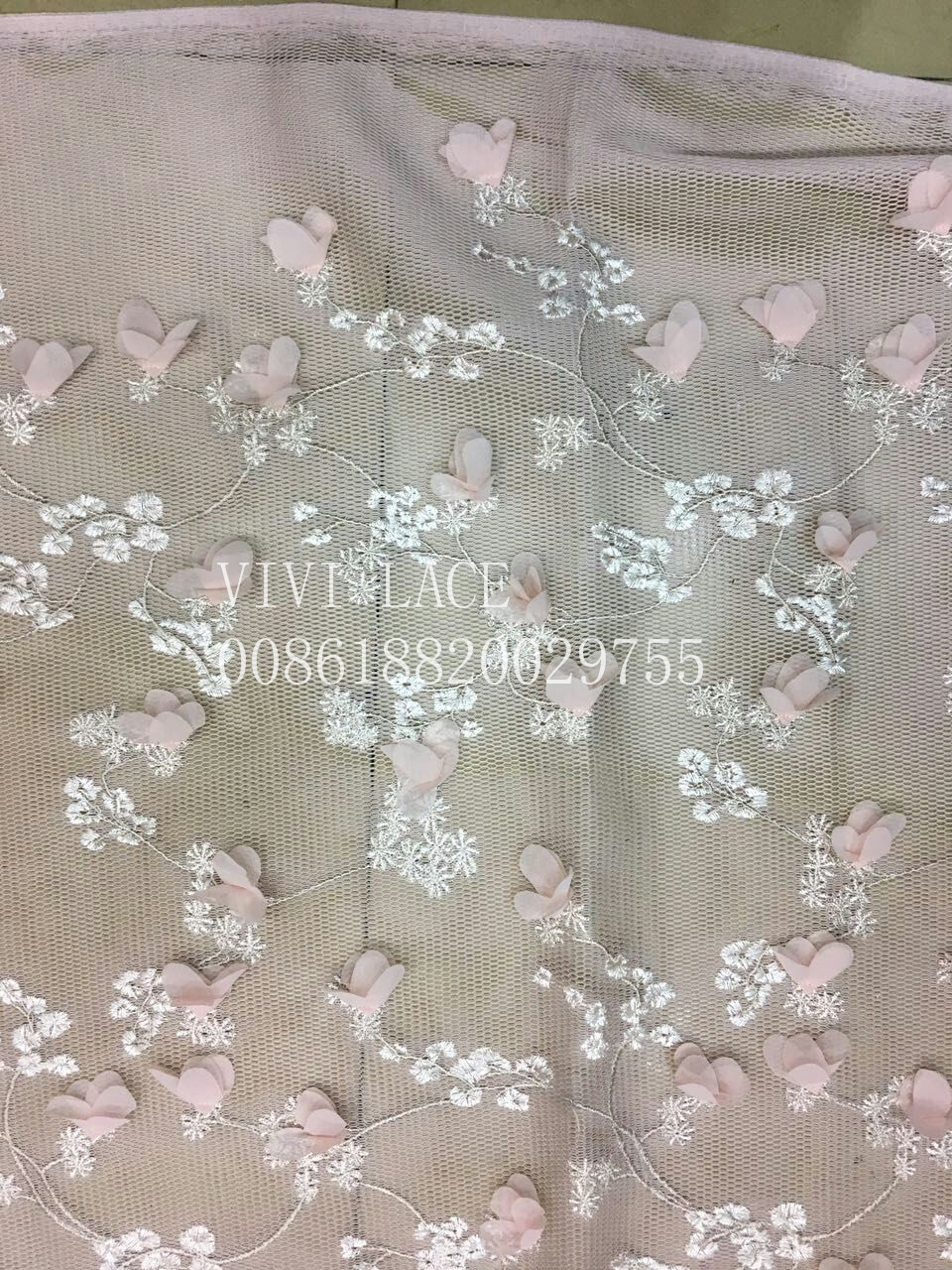 5 yards  xl001 # pink chiffon flower double air net lace fabric for wedding dress sawing/party dress/occassion thumbnail