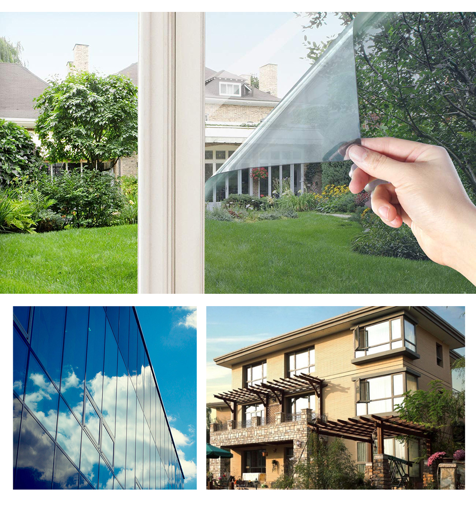 Image 5 - 40/50/60/70/80/90x500 Cm One Way Mirror Window Film,Vinyl Self adhesive Reflective Solar film Privacy Window Tint for Home-in Decorative Films from Home & Garden