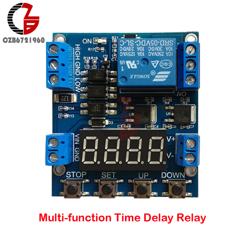 цена на DC 6-30V 1 Channel High/Low Trigger Time Delay Relay Module with Timing/Counting/Voltage Detection Function Circuit Switch