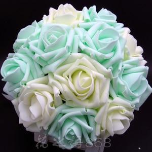 Image 3 - חדש הגעה מלאכותי הכלה ידיים מחזיק ורוד/שנהב/ירוק עלה פרח חתונת כלה זר