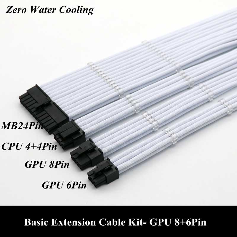 Basic ชุดสายขยาย 1 pcs 24Pin ATX 1 pcs CPU 8Pin 4 + 4Pin 1 pcs GPU 8Pin 1 pcs GPU 6Pin PCI-E Power Extension Cable