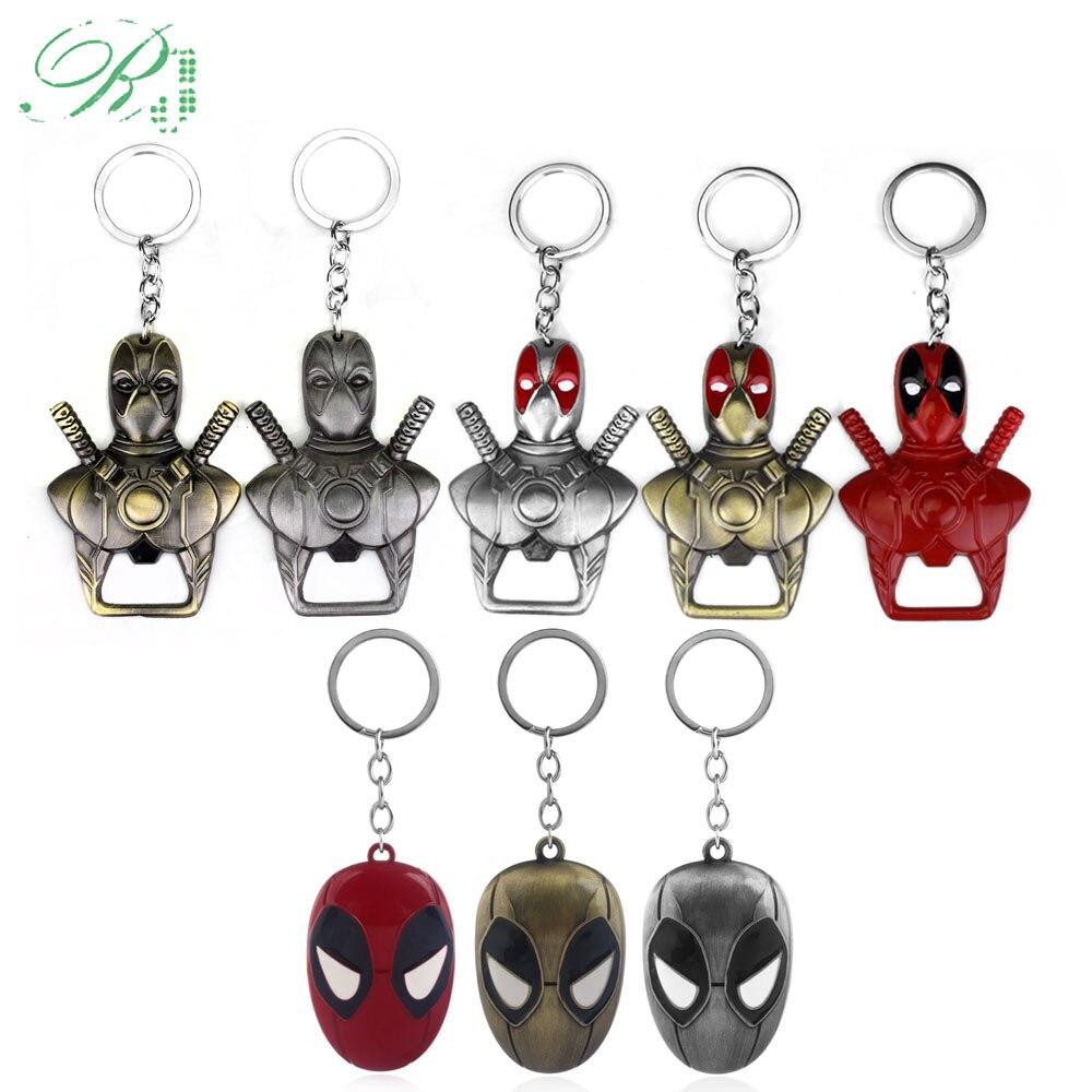 RJ New DC Deadpool Mask Bottle Opener Keychains Men Car Xmas Gift Movie Avenger Thor Axe Keyring Souvenir Cosplay Jewelry