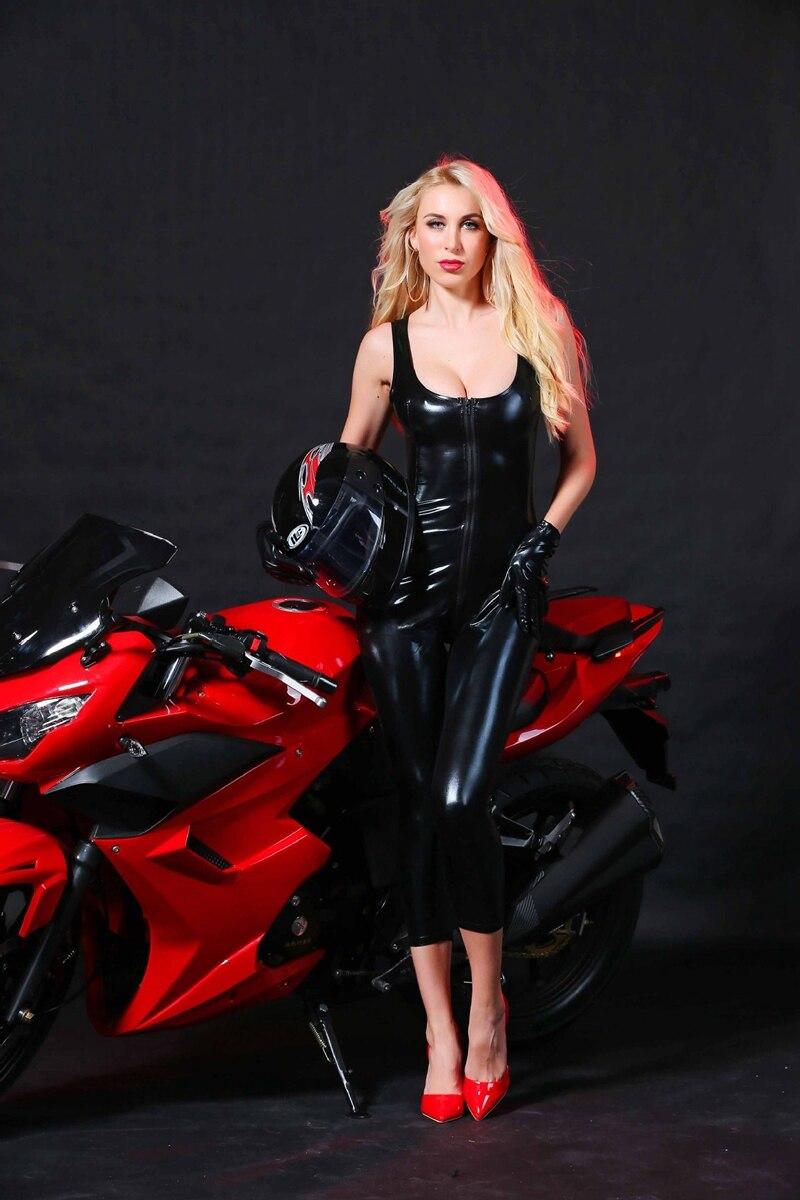 Women Sexy DS Clubwear black patent leather hot explosion models Slim jumpsuit Women Cat suit Bodysuit Open Crotch Costume