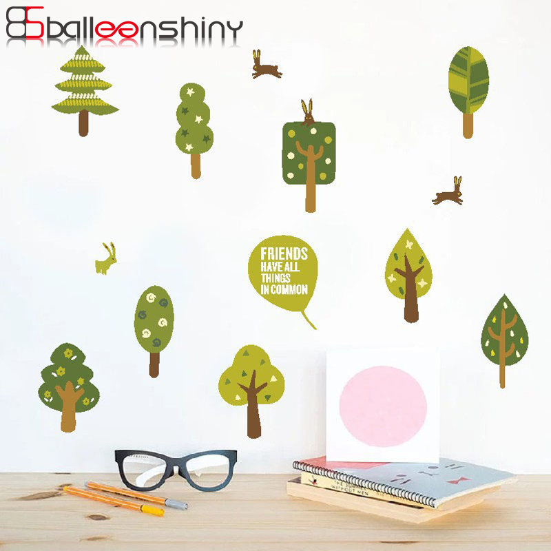 BalleenShiny Green Trees Wallpaper Pastoral Style Kids Room Living Room Decal Removable Home TV Sofa Background Sticker Decor in Wall Stickers from Home Garden