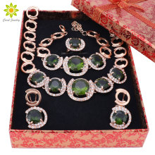 Italian Design Gold Color Jewelry Green Crystal Necklace Bracelet Earrings Ring Jewelry Sets Women Dinner Party