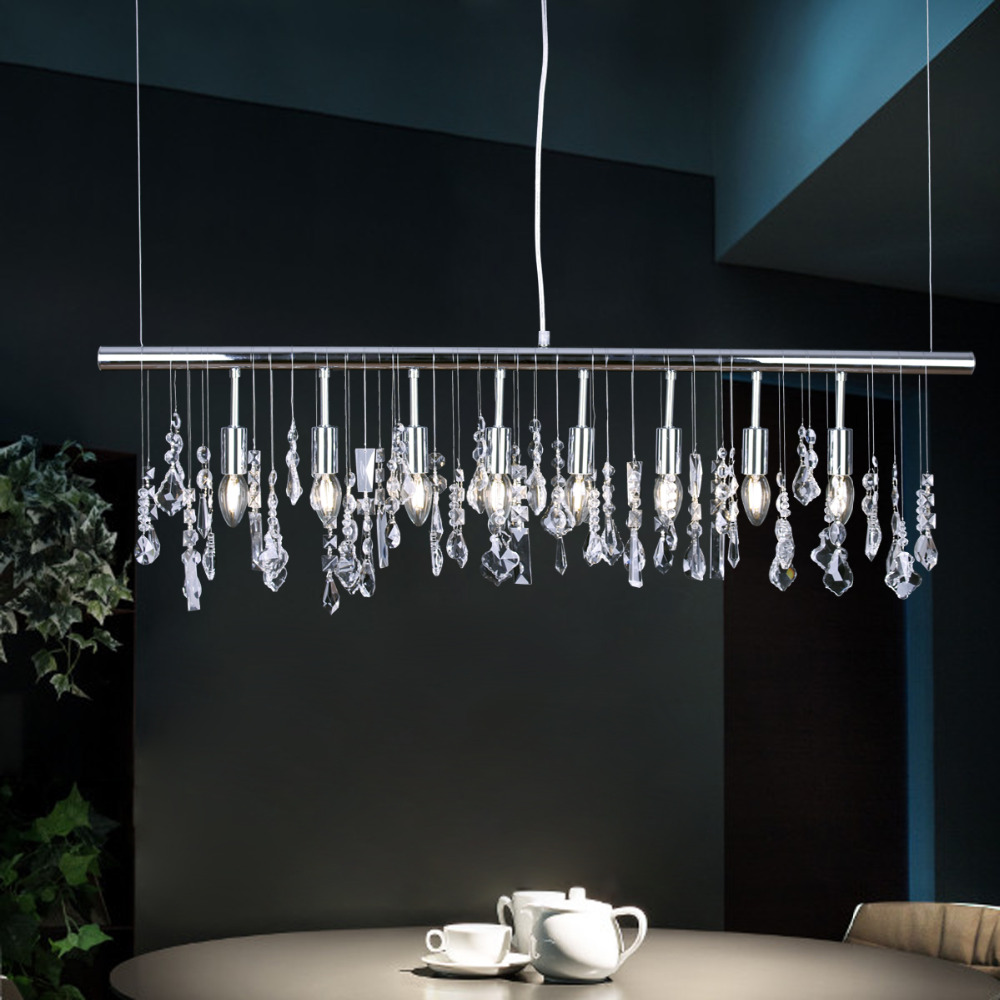 Free Shipping Modern Pendant Lamp Crystal Hanging Light Chrome for Dinning Living Room Suspension Lighting Length 100cm