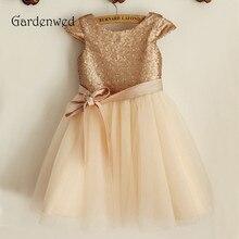 Gardenwed Champange Flower Girl Dress 2019 Gold Sequin Belt Sash Zipper up Cap Sleeves Baby Red Pageant