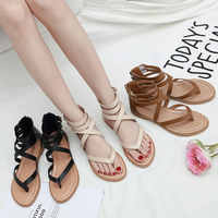 HEE GRAND Women Summer Shoes Round Toe Gladiator Sandals Ankle Strap Sandals 2019 Buckle Shoes Female Lady Casual Flats XWZ5881