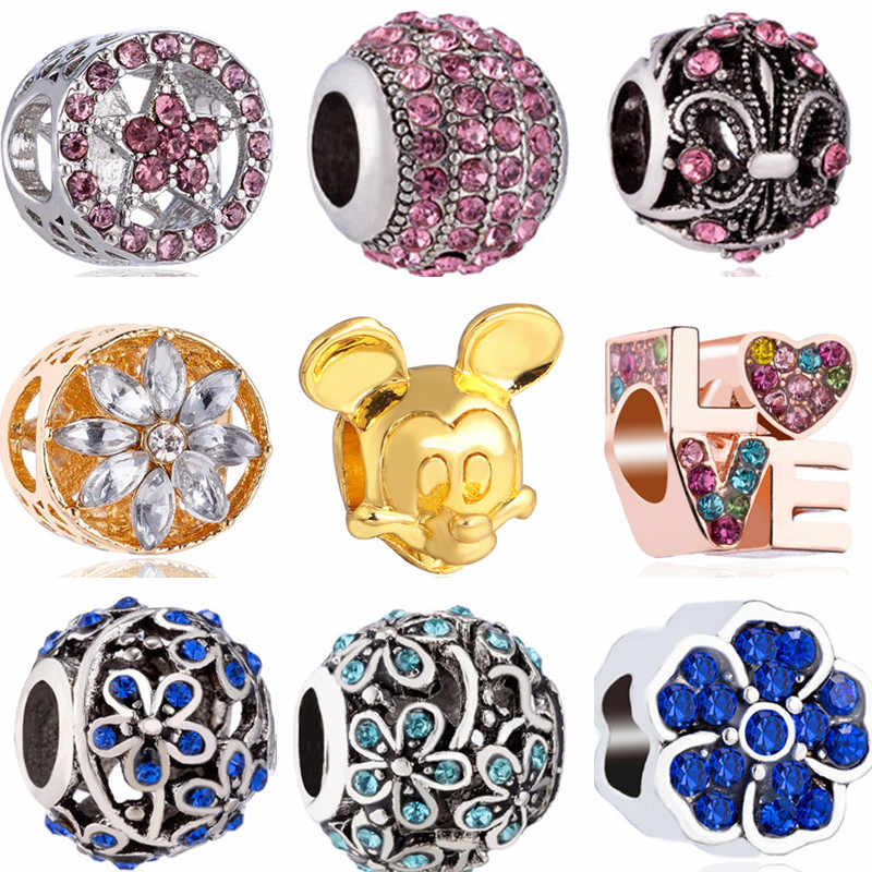 Colorful Crystal Flower Tree Lock Unicorn Mickey Mouse Charms Beads Fit Pandora European Bracelets for Women DIY Jewelry Gift