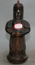 USPS to USA S2308 11″ Old Chinese ox horn Stand Warrior God Knight Skanda Veda Weituo knife Statue B0401