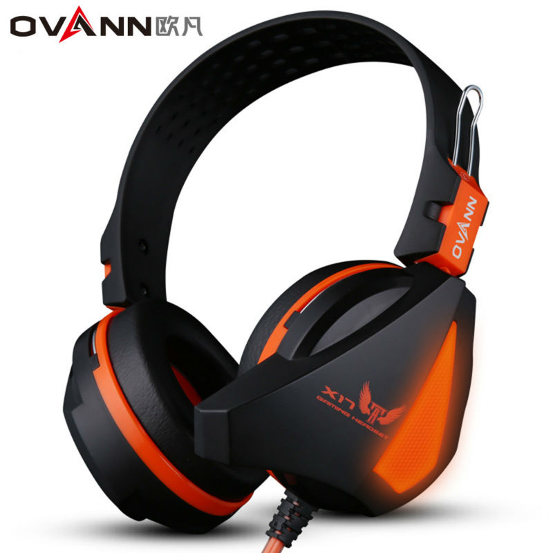 Ovann X17 Over-ear Game Gaming Headphone Wired Headset Earphone Headband with Microphone Stereo Bass LED Light For PC Phone  original fashion computer game headphone wired gaming headset super bass stereo earphone with led light microphone for lol ps4