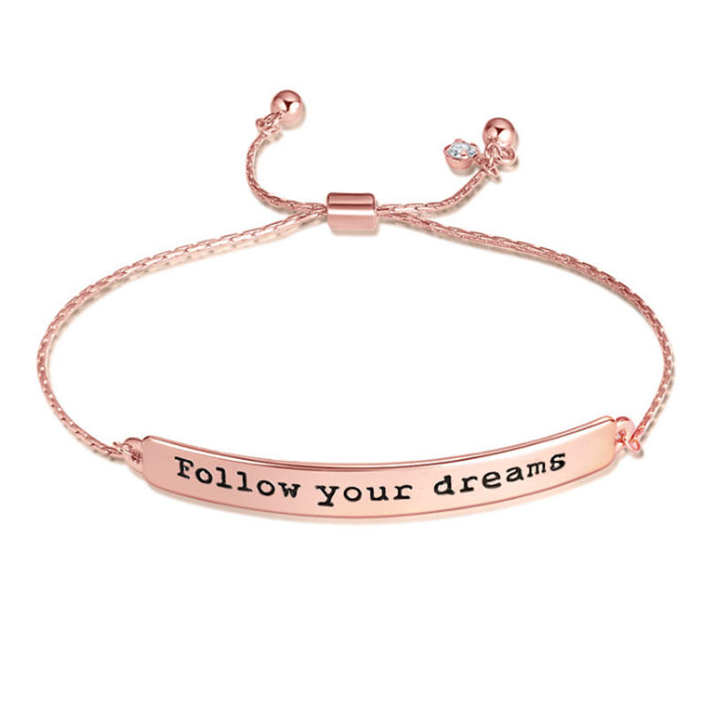 Positive Inspirational Quote Bracelets Hand Stamped Letter Adjule Mantra For Femme Jewelry Best Bridesmaid Gifts