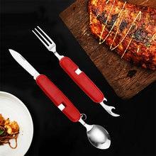 Folding Fork Knife Scoop Bottle Opener Set Stainless Steel Cutlery Kit Portable Multi Dining Tool Camping Utensil Set Tableware