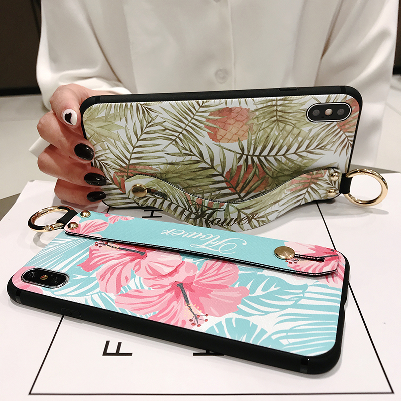 Full Cover Protective Case with Holder for iPhone 7 8 plus 6 6s 6 plus 3D Flower Case with Strap for iPhone XS MAX XR XS X Cover in Fitted Cases from Cellphones Telecommunications