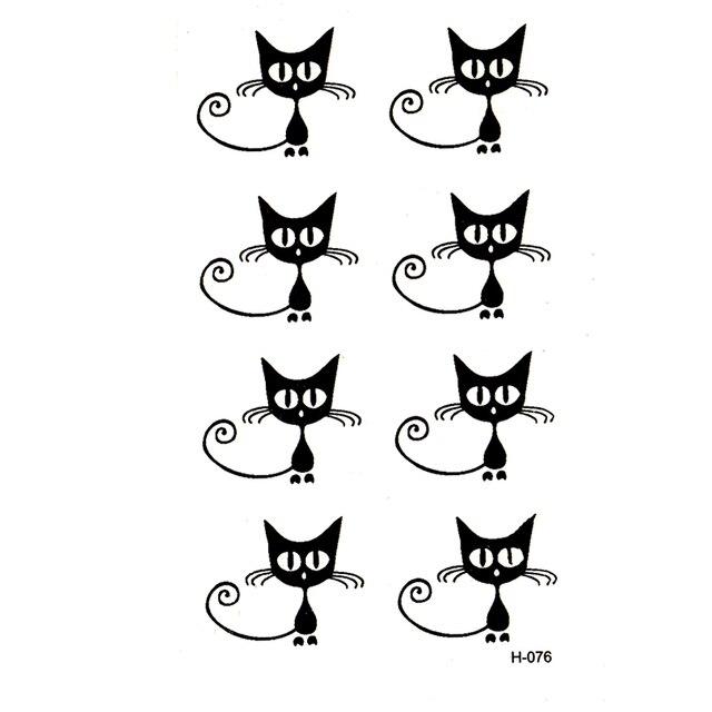 Kucing Hitam Kecil Tahan Air Sementara Tato Sementara Seni Tubuh