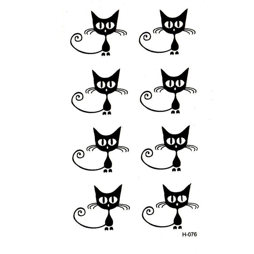 Mały czarny kot wodoodporne tymczasowe tatuaże tatuajes temporales tymczasowe sztuki ciała flash tatuaż henna xha tatuaż mężczyzn i kobiet