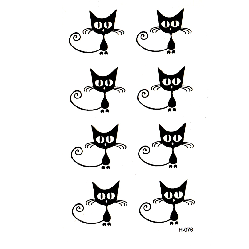 Hot Sale Small Black Cat Waterproof Temporary Tattoos Tatuajes
