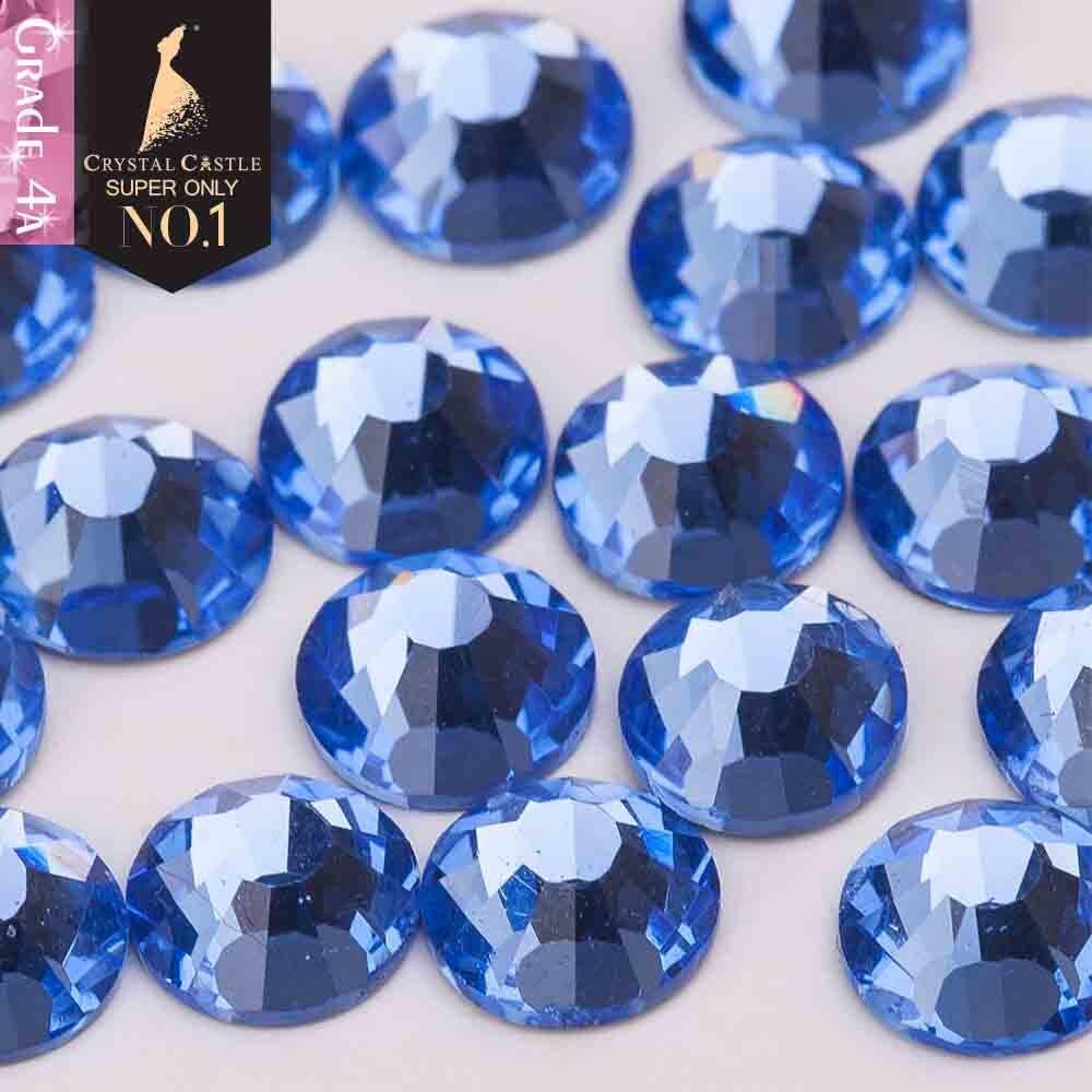 Crystal Castle 4A glass flatback rhinestone Light Sapphire non hot fix crystal none glue no hotfix strass rhinestones for nail