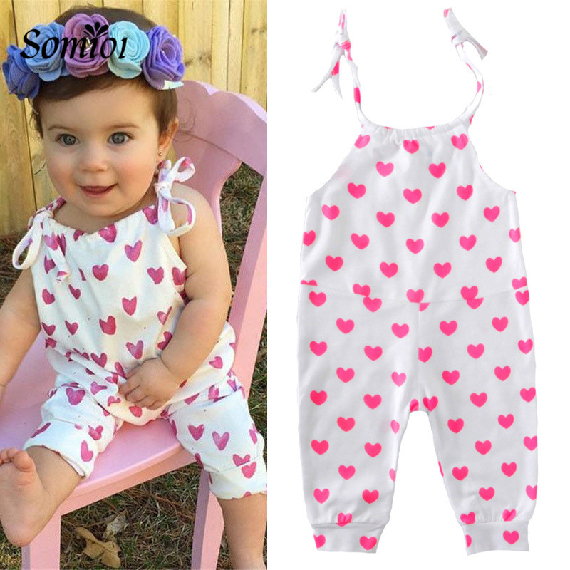 New Summer Infant Baby Girl Rose Red Heart Pattern Jumpsuit Casual Fashion Clothing Kids Children Clothes For Baby Girls