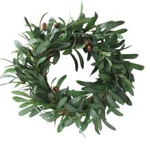 Artificial Garland Peace Olive Leaf Wreath Ornaments Olive Branch Door Ring Wedding Decoration Holiday Home Window Ornaments(China)