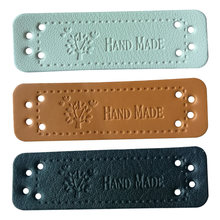 Hand made leather tags for clothing DIY accessories for gift handcraft leather label for handmade clothes labels with tree logo(China)