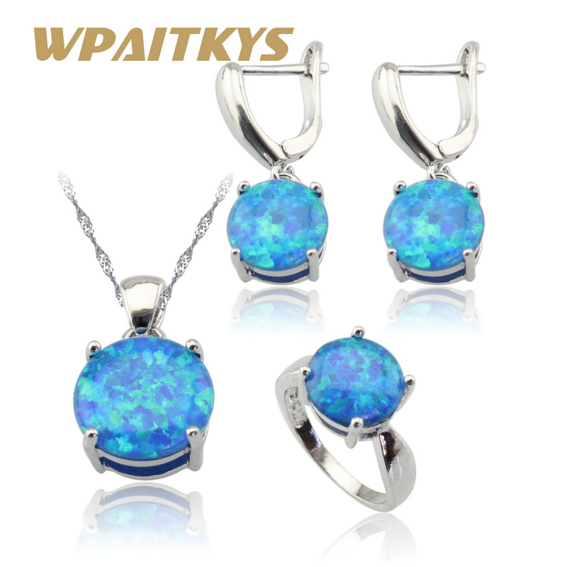 Round Australia Fire Blue Opal Silver Color Jewelry Sets For Women Wedding Necklace Pendant Earrings Rings Gift Box 6pcs of stylish color glazed round rings for women