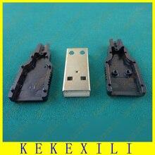 FreeShipping 100ชิ้นDIY USBประเภทหญิง4Pin 4จุดสามชิ้นสภาเชื่อมต่อเสียบซ็อกเก็ต